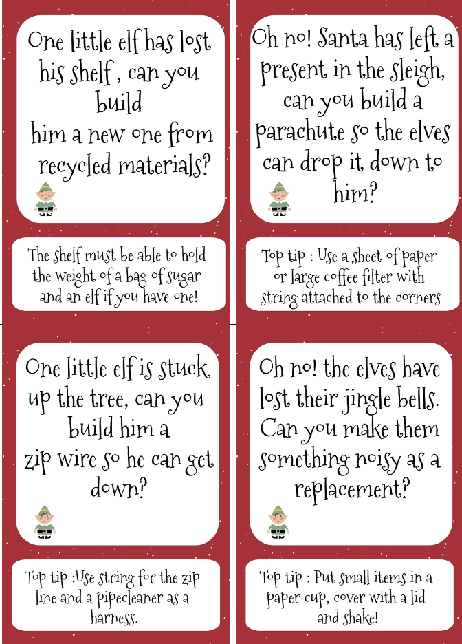 ELF STEM Challenge cards - printable