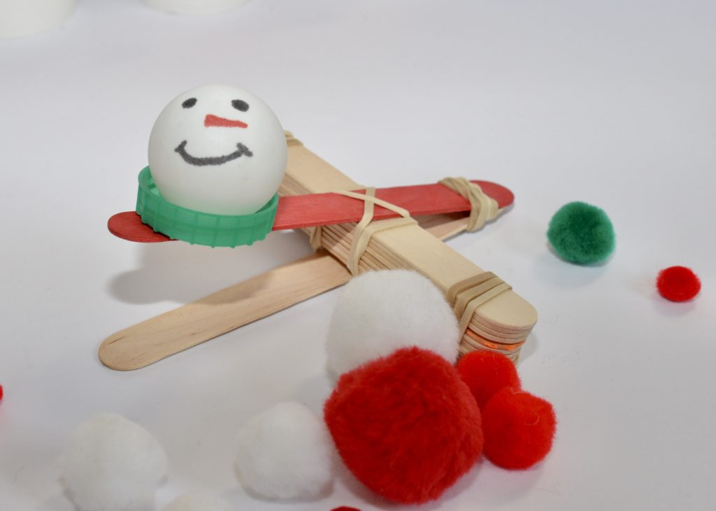 Snowman Catapult - top 10 science experiments for kids