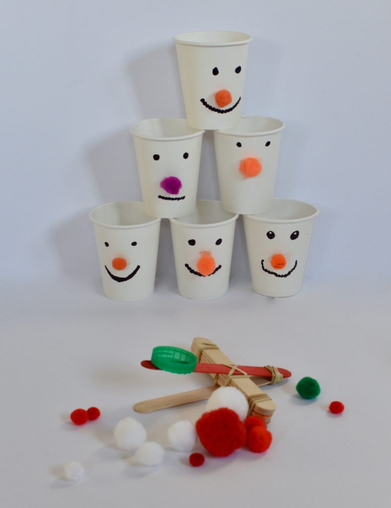 Snowman Catapult and Cups #snowmanSTEM