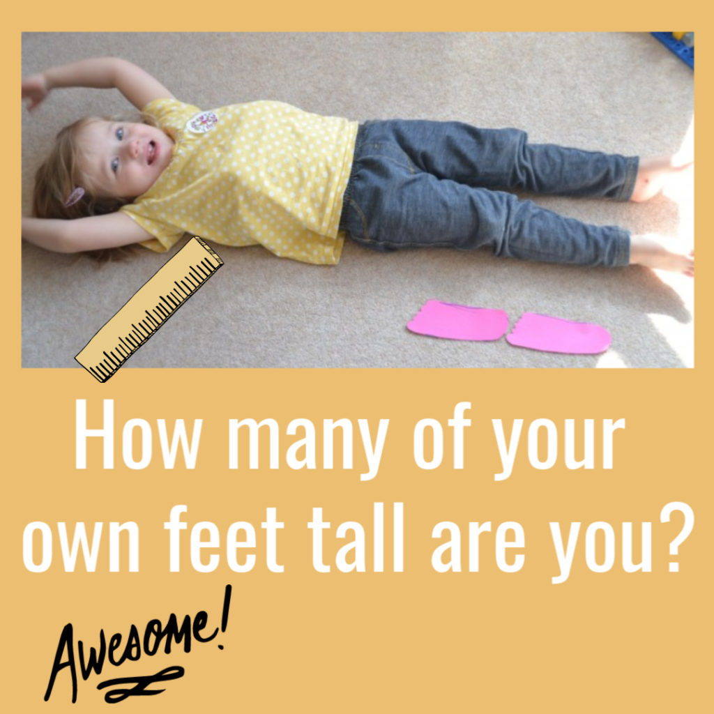How many of your own feet tall are you? Easy Preschool Maths Activity #preschoolscience #scienceforkids