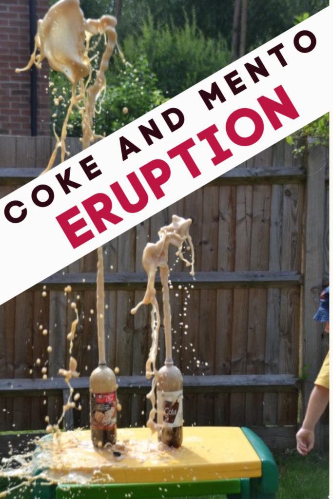 Coke and Mento Eruption - awesome science experiment for kids #messyscience #scienceforkids #coolscience  drop mentos into the coke to see it erupt