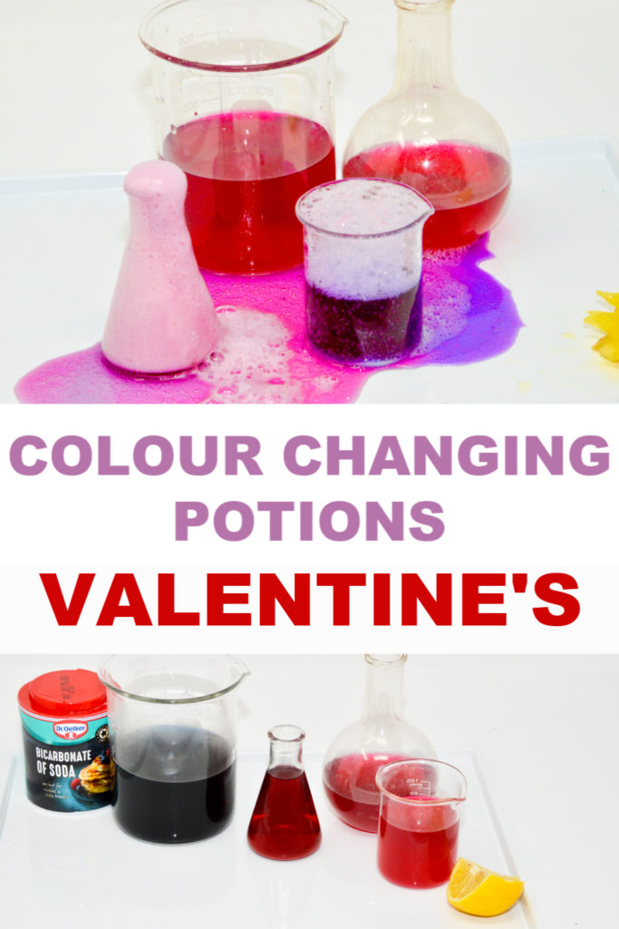 colour changing potions for Valentine's day #Valentinesdayforkids #scienceforkids