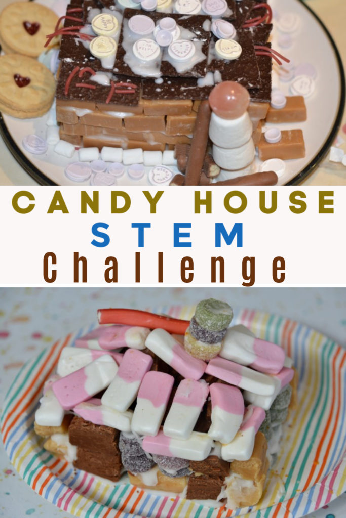 How to build a Candy house STEM Challenge - great for a Charlie and the Chocolate Factory themed experiment or Hansel and Gretel witches house #candystem #candyscience #scienceforkids