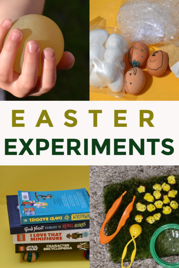 Fun collection of easy Easter Science Experiments for kids of all ages - make an egg drop investigation, scratch art eggs, a chicken sensory bin, eggshell bridge and lots more Easter science ideas #EasterScience #Scienceforkids #EasterExperiments