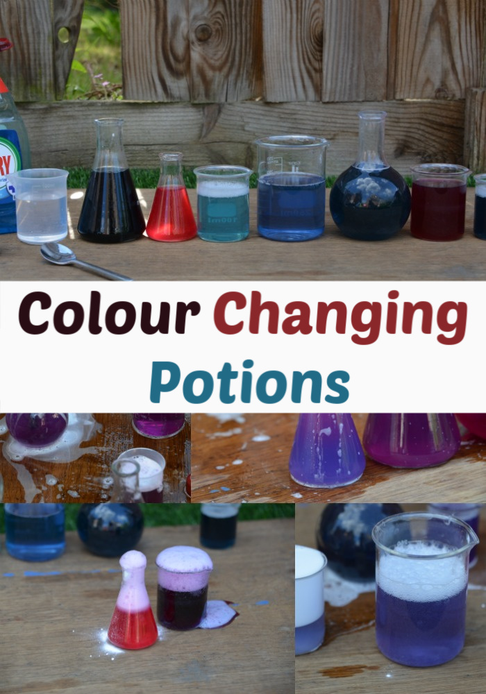 colour Changing Potions made with red cabbage indicator. Make red cabbage indicator and add different acids and alkalis to make different colours. #chemistryforkids