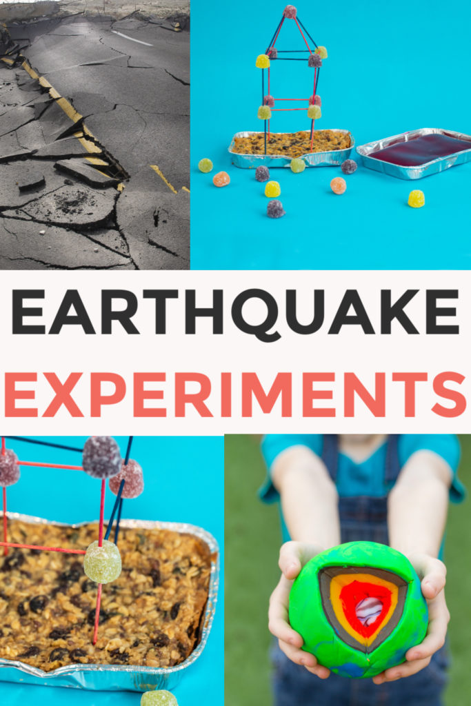 Easy Earthquake experiments for kids - make candy towers and test them in edible foundations, make a seismometer and a playdough model of the Earth #Scienceforkids #EarthquakeExperiments