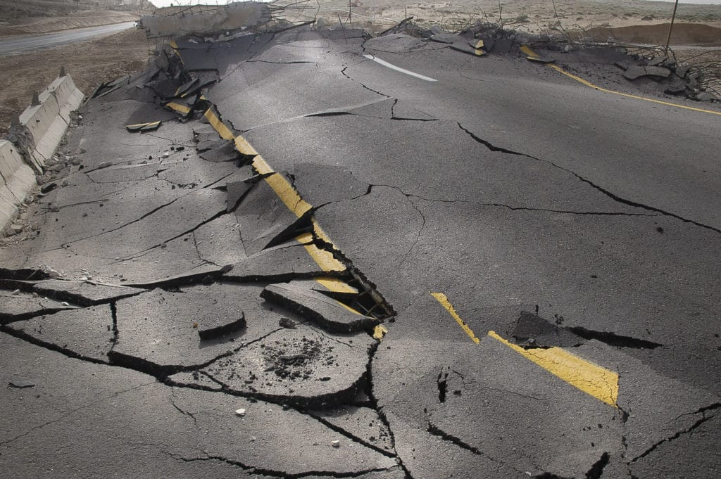 Earthquake Image - cracked road after an Earthquake