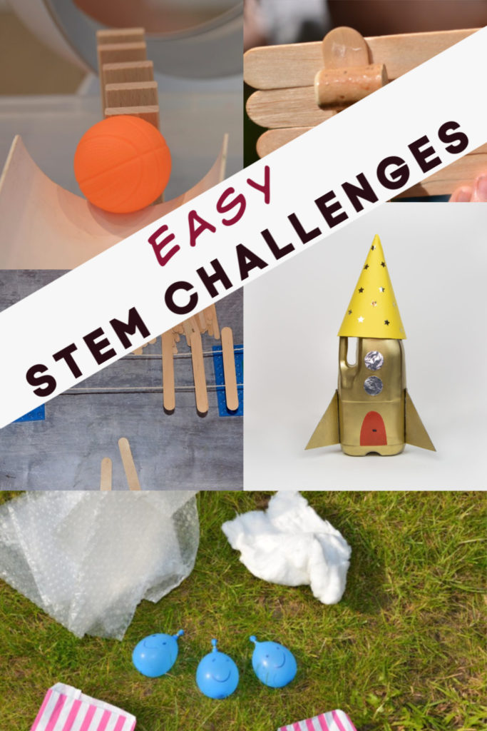 Easy STEM Challenges for kids - Make a Rocket Mouse, magnet cars, paper cups to stand on, paper spinners, friction ramps and a Rube Goldberg machine #STEMforkids #STEMChallenge #Scienceforkids