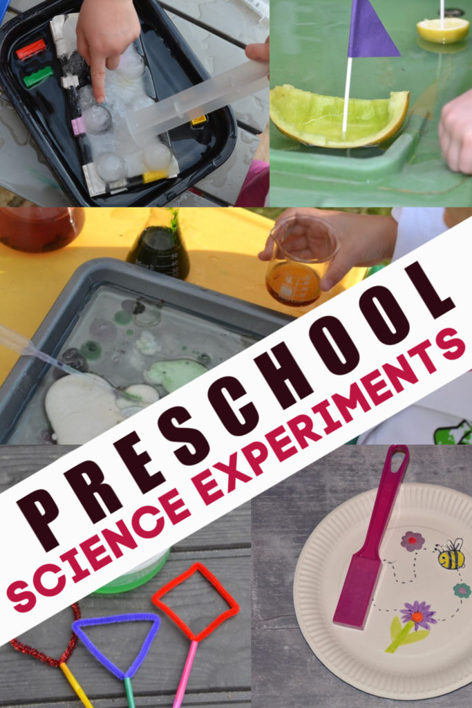 Easy and hands on preschool science experiments. Magnet experiments, sensory bottles, bubbles, messy science and fairy tale science experiments for preschoolers #preschoolscience #scienceforpreschoolers