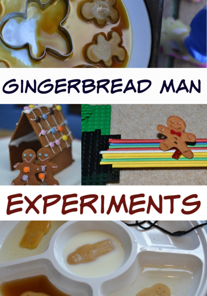 Gingerbread Man Science Experiments for Kids - soak gingerbread men in different liquids, build boats, bake with different ingredients and lots more #gingerbreadmanscience #scienceforkids