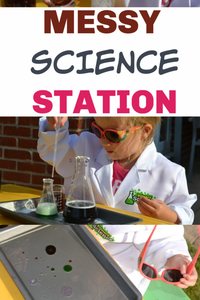Easy messy science station for preschoolers - includes baking soda and vinegar reactions, magic milk and more preschool science #messyscience #preschoolscience #sciencestation