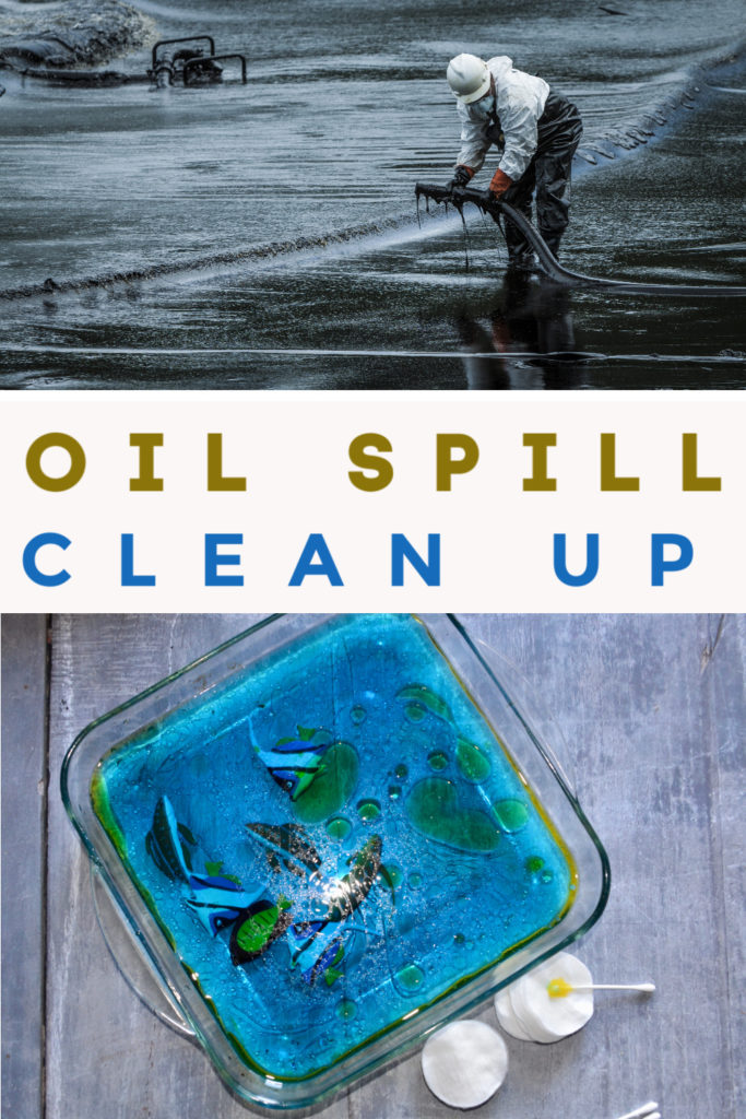 Oil Spill Clean Up Experiment for kids. try to remove oil from water using different absorbent materials #oilspill #scienceforkids #ecology #ecologyexperiments