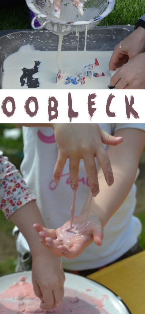 Oobleck or cornflour slime messy play for kids #scienceforkids #oobleck #cornflourslime #cornstarch