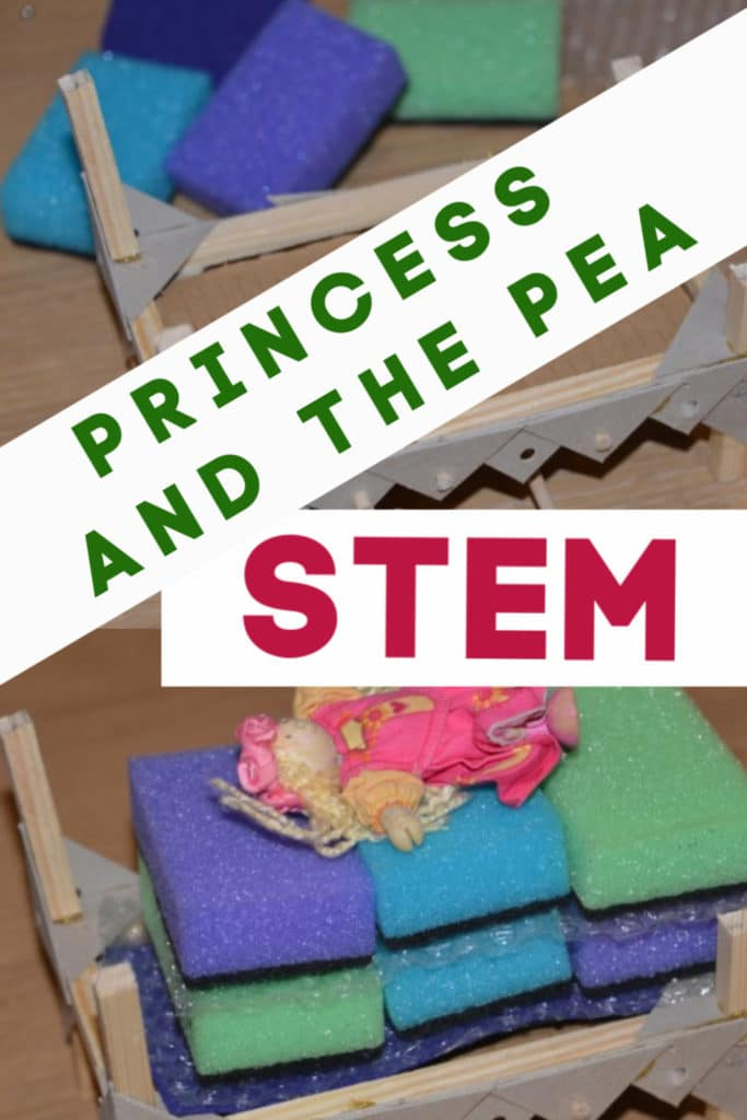 Princess and the Pea STEM activity. Create a mattress so the princess can't feel the pea #princessandthepea #WorldBookDay #FairyTaleSTEM