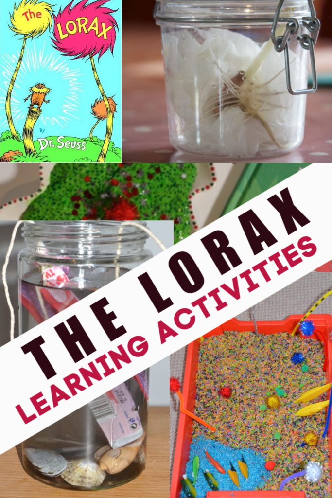 The Lorax science experiments and activities. Grow a bean in a jar, learn about pollution, make a whispa-ma-phone and more Dr Seuss science experiments #scienceforkids #Lorax #DrSeuss