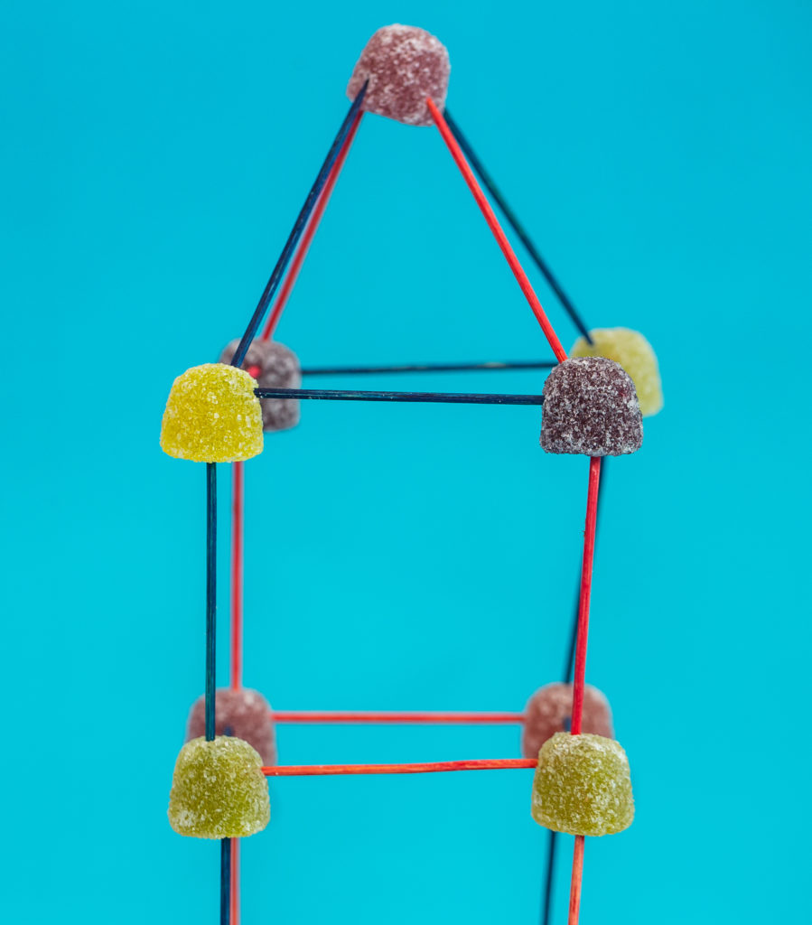 tower made from toothpciks and candy