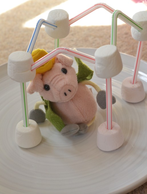 marshmallow and straw house for the Three Little Pigs