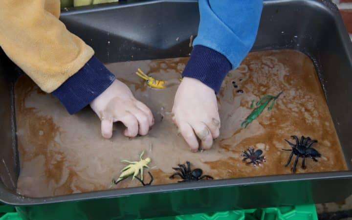 Bug Oobleck - toddler sensory play