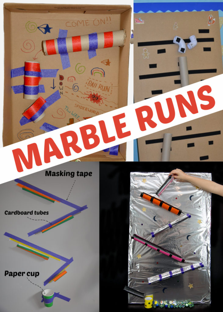 Easy Homemade Marble runs for kids #STEMChallenge #MarbleRun #Scienceforkids Make a marble run from recycled materials