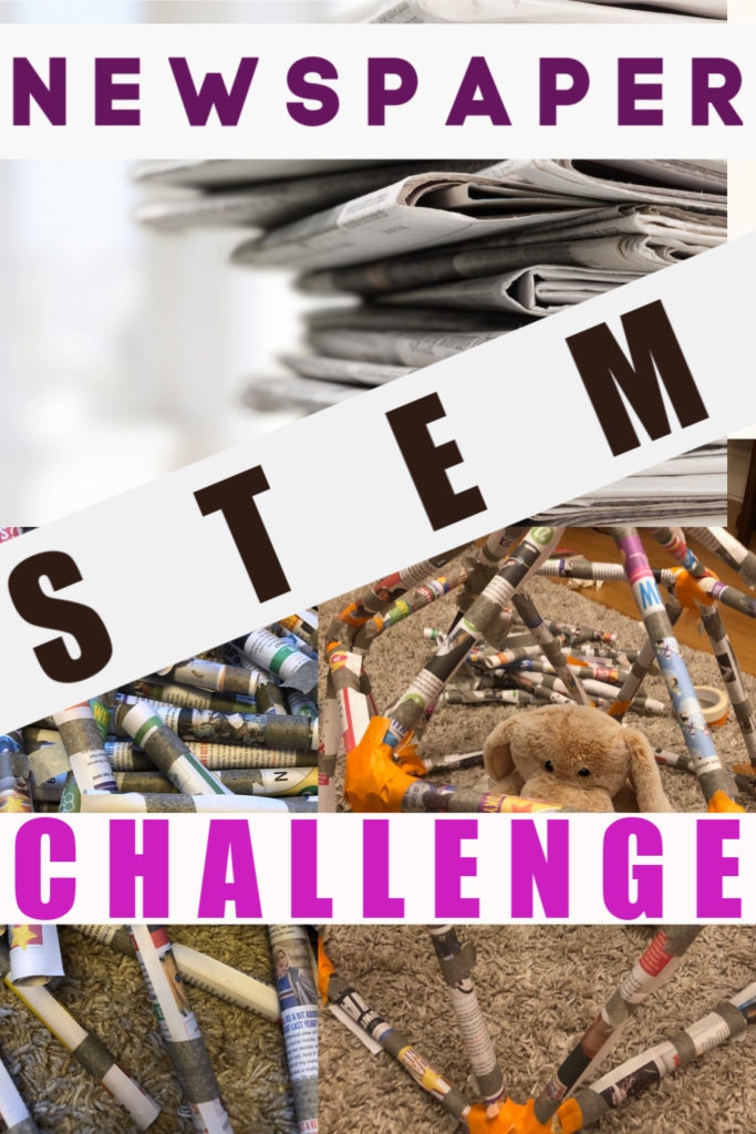 Collection of easy newspaper STEM challenges for kids and grown ups. roll the paper and get buildiing. #STEMChallenges #NewspaperSTEM #STEMforkids