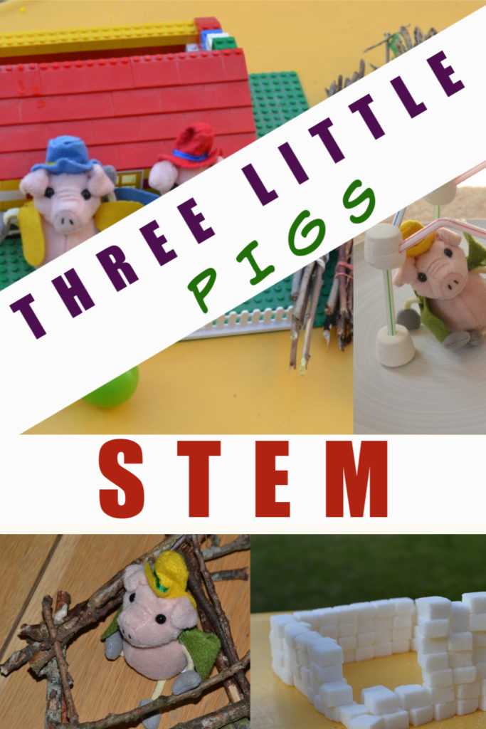 Three Little Pigs STEM challenge. Build stick, straw, sugar cube and brick houses for the three little pigs. #ThreeLittlePigs #WorldBookDay #Scienceforkids
