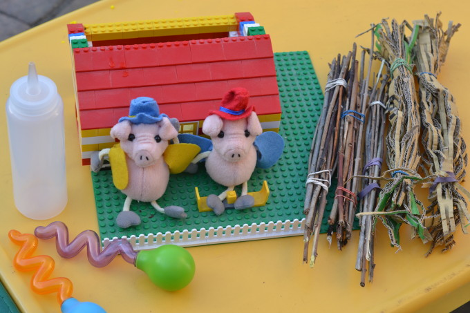 Stick, straw and brick house for the Three Little Pigs