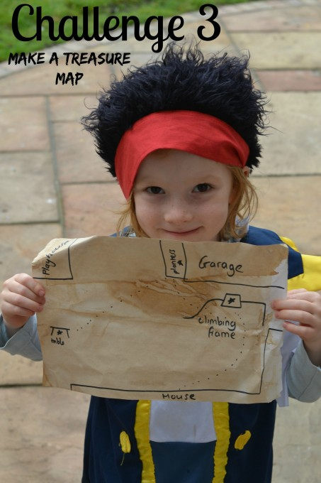 Treasure map made with paper and tea