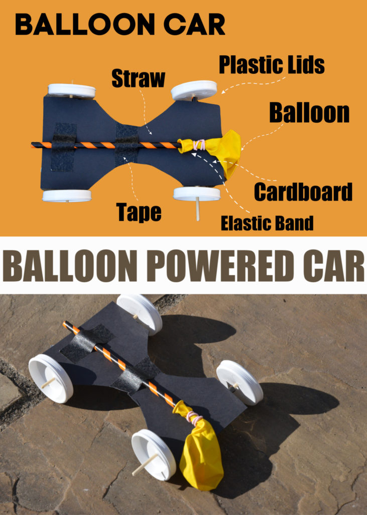Easy balloon powered car for kids - fun STEM project #scienceforkids #vehicles #sciencecrafts
