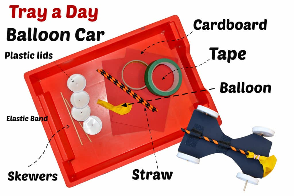 Balloon car - Tray a Day - easy science experiment for kids