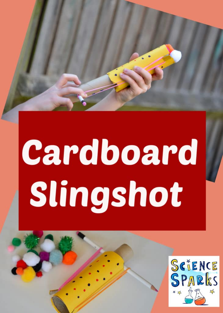 Easy cardboard slingshot for kids - fun science craft for kids - learn about gravity and trajectory with this easy tube launcher #scienceforkids #slingshot #sciencecraft