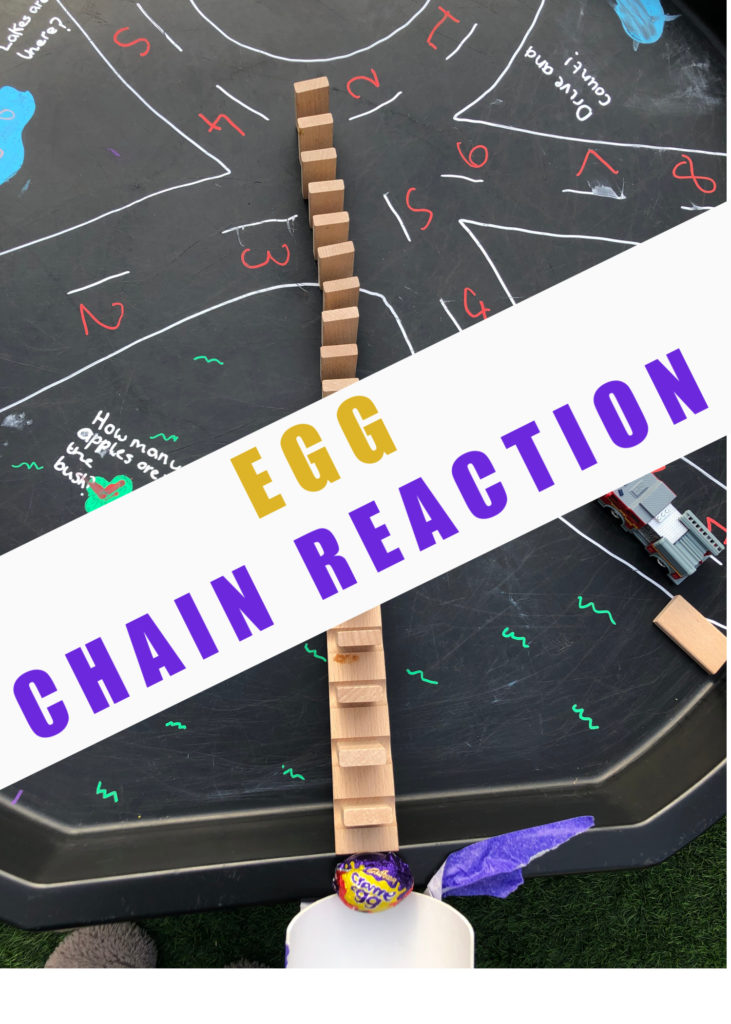 Egg chain reactions for kids  - Easter STEM Challenge for kids #scienceforkids #STEMforkids #STEMChallenge