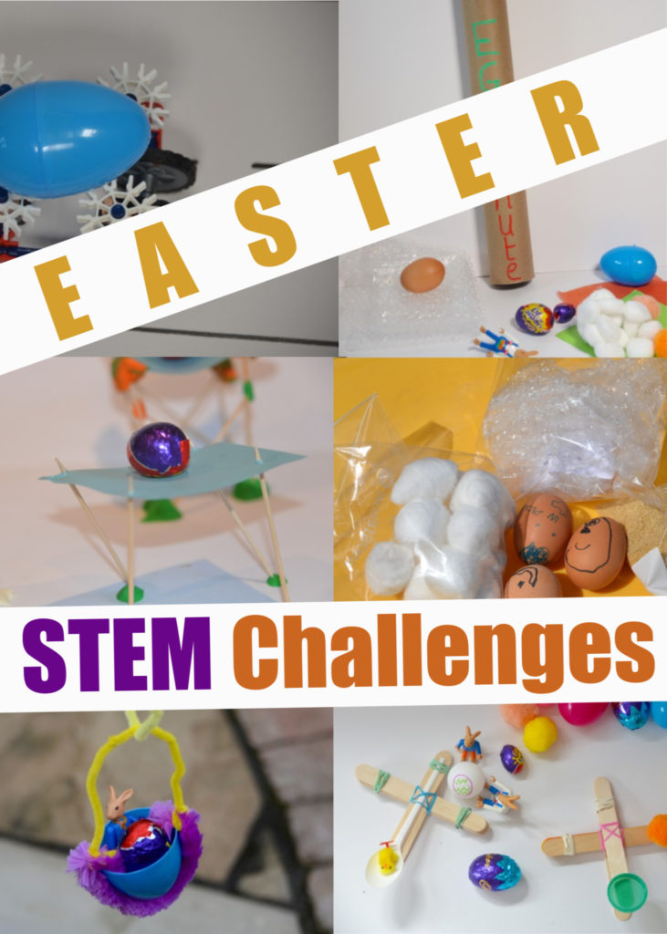 Easy Easter STEM Challenges for kids - drop an egg down an egg chute, make a catapult for an egg, make an eggy zip wire and lots more EASTER STEM for kids #EasterScience #EasterSTEM #STEMChallenges