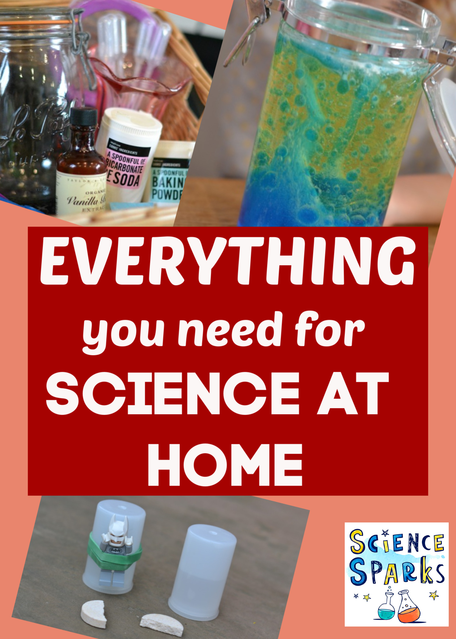 Everything you need for science at home - list of ingredients, resources and experiment ideas for awesome science at home #scienceforkids #scienceathome