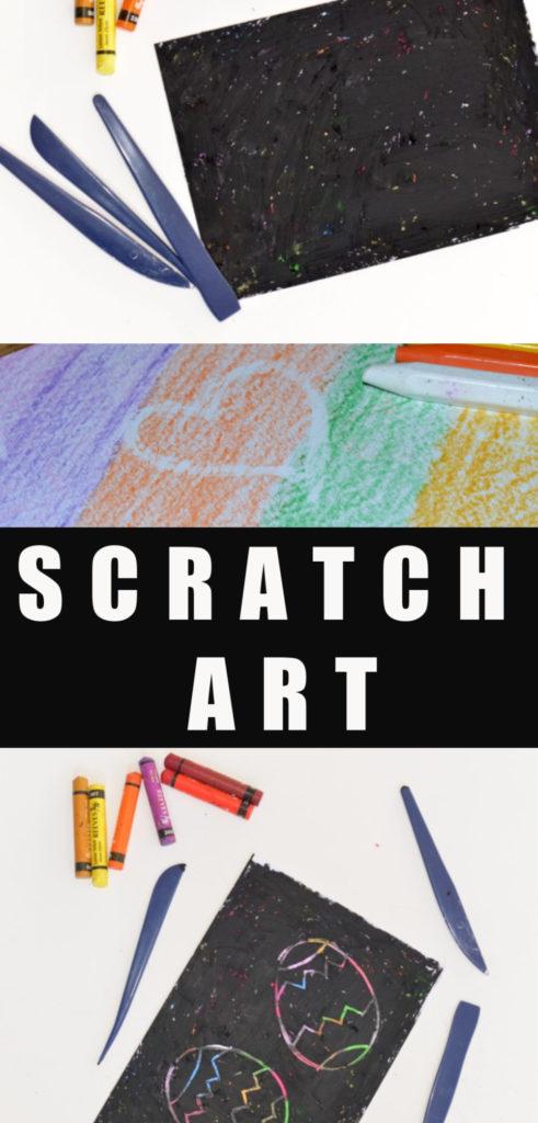 Homemade scratch art paper for kids - easy crafts for kids #scratchart #craftsathome