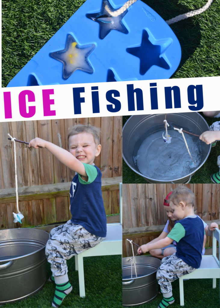fun ice experiment for kids. Freeze small plastic fish in an ice cube container with string, attach to a stick and fish in warm and cold water #iceexperiments #scienceforkids #preschoolscienceexperiments