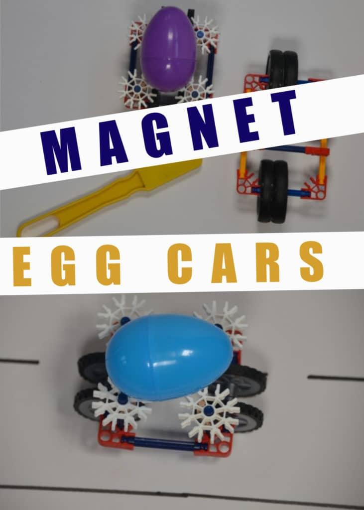 Magnet powered egg cars, a great EASTER STEM Challenge for kids  #Scienceforkids #EasterSTEM