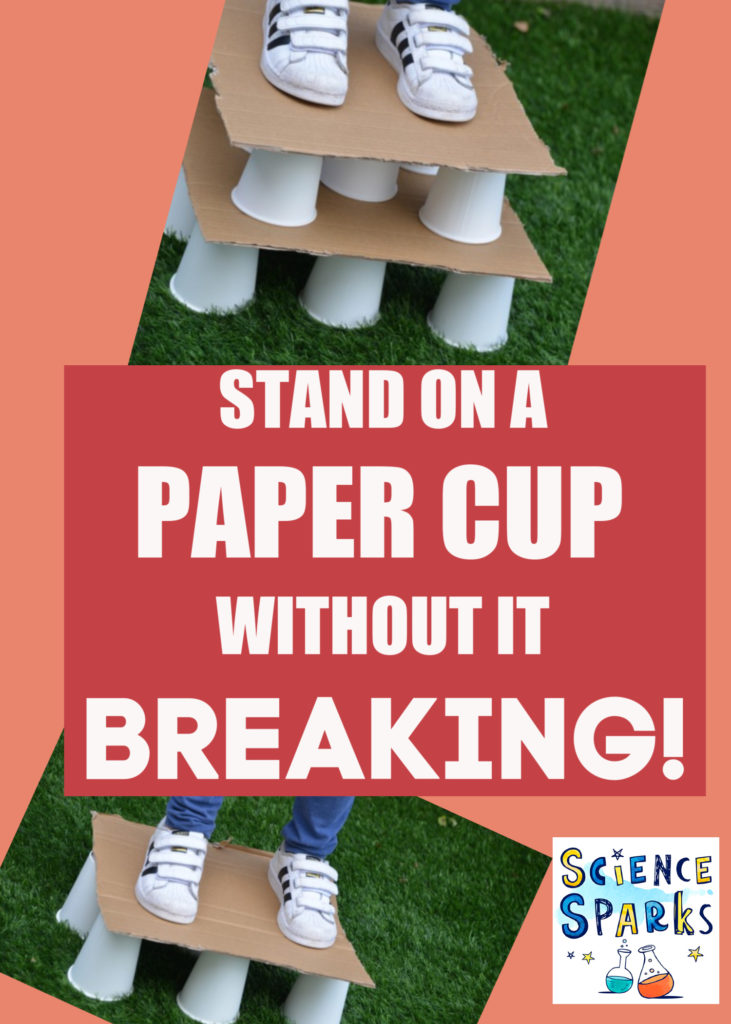 Paper Cup STEM Challenge - stand on paper cups without them breaking them #STEMforKids #STEMChallenge Great for science club too.