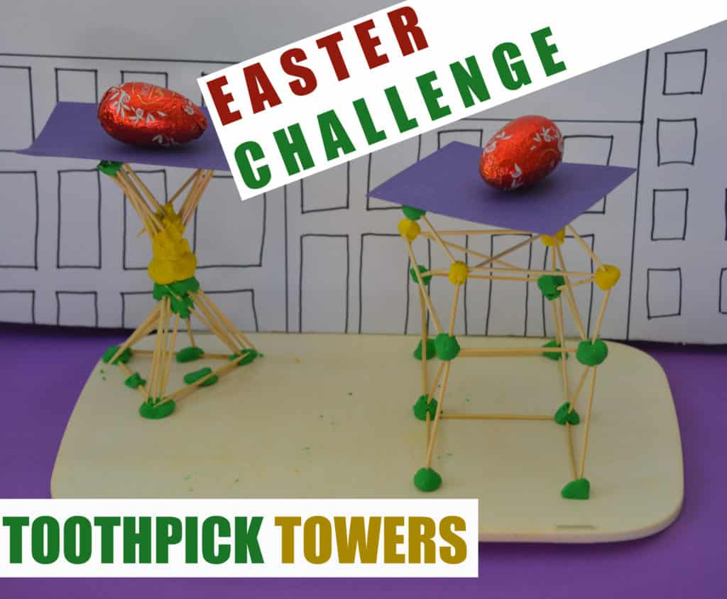 toothpick tower challenge - Easter STEM fork ids