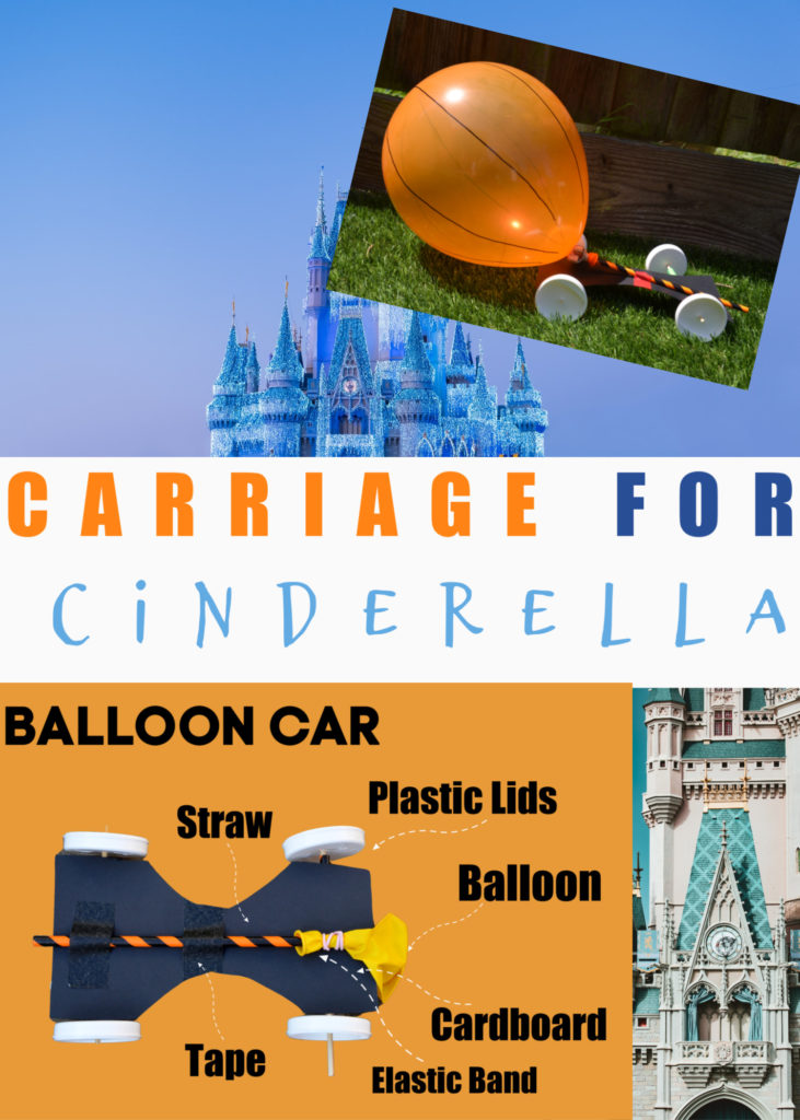 Carriage for Cinderella - fun balloon powered STEM Challenge for kids #CinderellaScience #CinderellaSTEM #STEMChallenges #scienceforkids