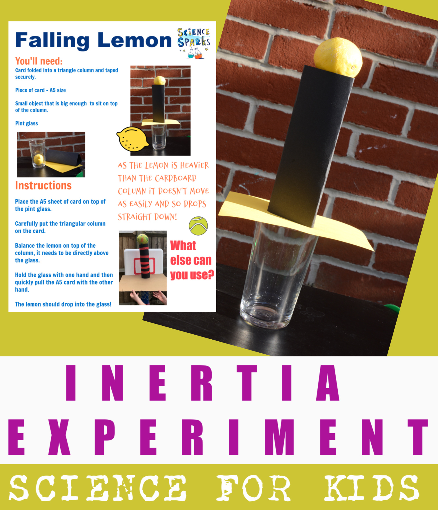 inertia experiment with a lemon, cardboard and a glass