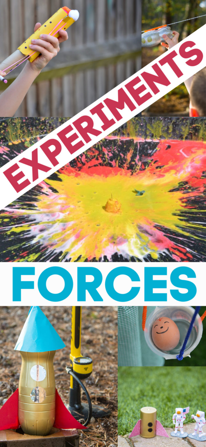 30 brilliant ideas for learning about forces. Fun collection of forces and motion experiments and investigations. Find gravity experiments, air pressure experiments, inertia experiments and magnet experiments #forceexperiments #scienceforkids #forcesandmotion