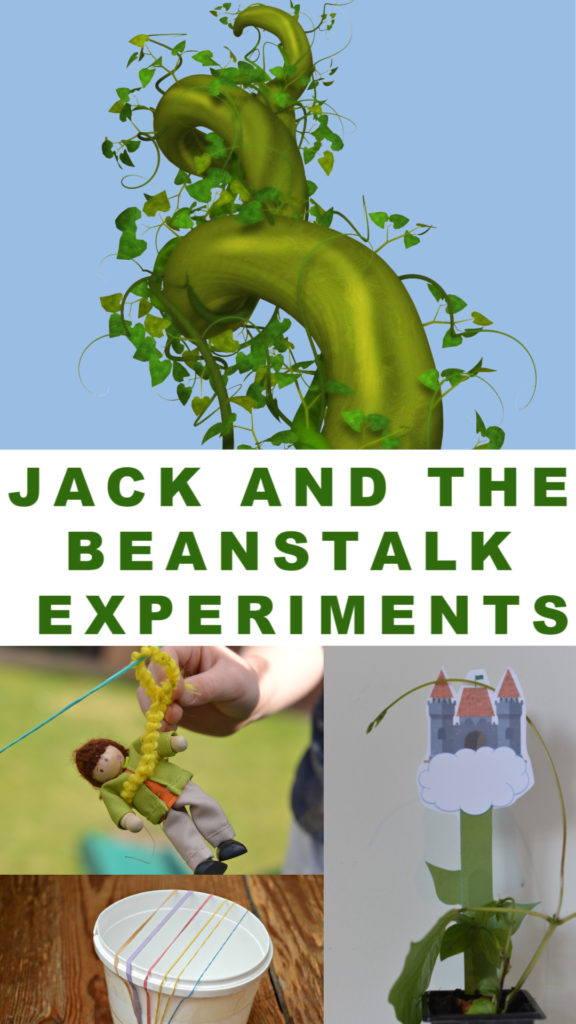 Easy Jack and the Beanstalk Experiments for kids. Grow a bean, build a zip line or a parcahute to help Jack escape from the giant. Make a harp, learn anout chicken lifecycles and lots more fun science for kids. #fairytalescience #jackandthebeanstalk #scienceforkids  #jackandthebeanstalkscienceexperiments