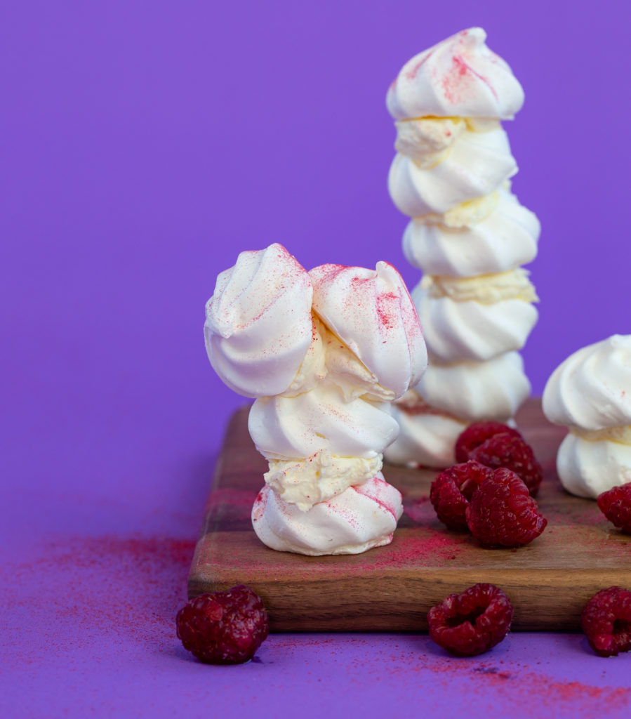 Towers made from meringue for a meal of science experiments