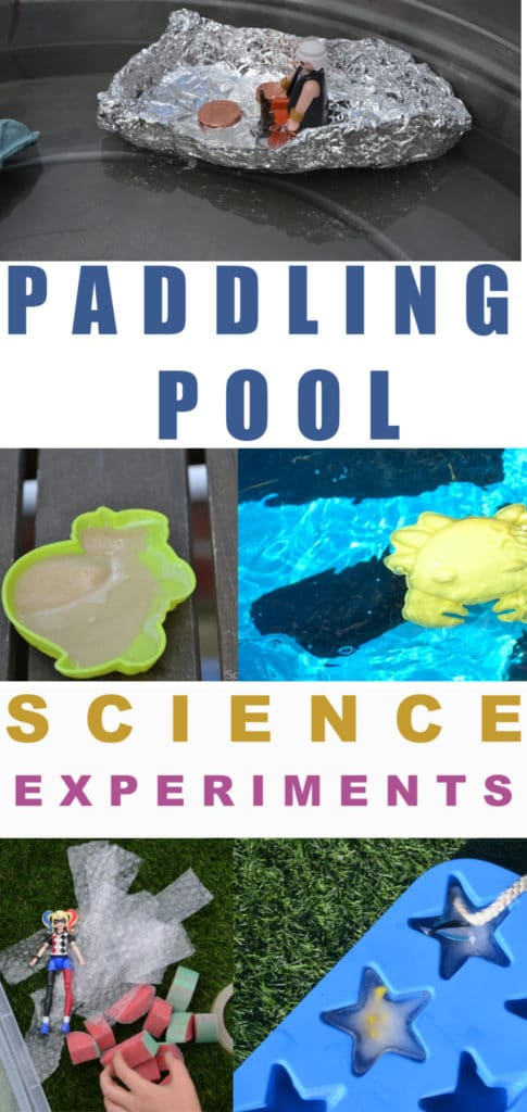 Fun paddling pool science experiments for kids - make and test boats, find out what happens to the water when you sit down and more outdoor water science experiments! #scienceforkids #paddlingpoolscience