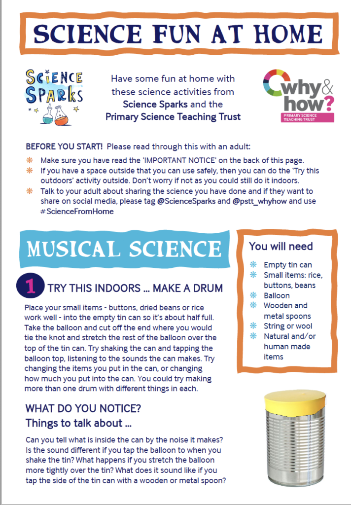 Music science experiments to do at home