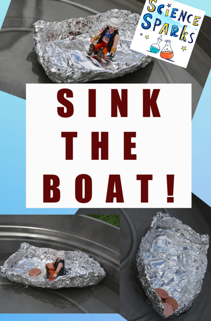 Sink the boat STEM Challenge - how many coins can a foil boat hold before it sinks #STEMChallenge #PirateSTEM
