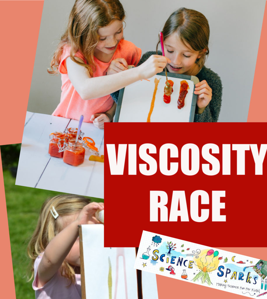 Fun viscosity investigation for kids. Race liquids down a ramp to discover which flow the fastest. Easy kitchen science experiment for kids #scienceforkids #ktichenscience
