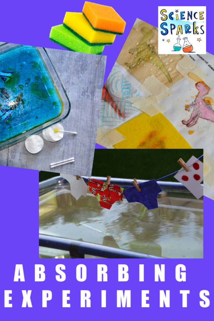 Collection of absorbing experiments for kids. Learn about absorbing and waterproofing materials #absorbingexperiments #scienceforkids