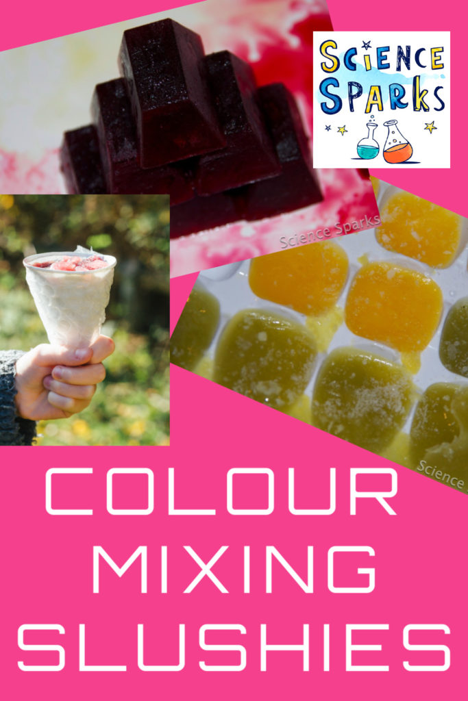 Easy colour mixing ice experiment for kids. Freeze juice into ice cubes and mix different coloured drinks #scienceforkids #icescience #easyscienceforkids