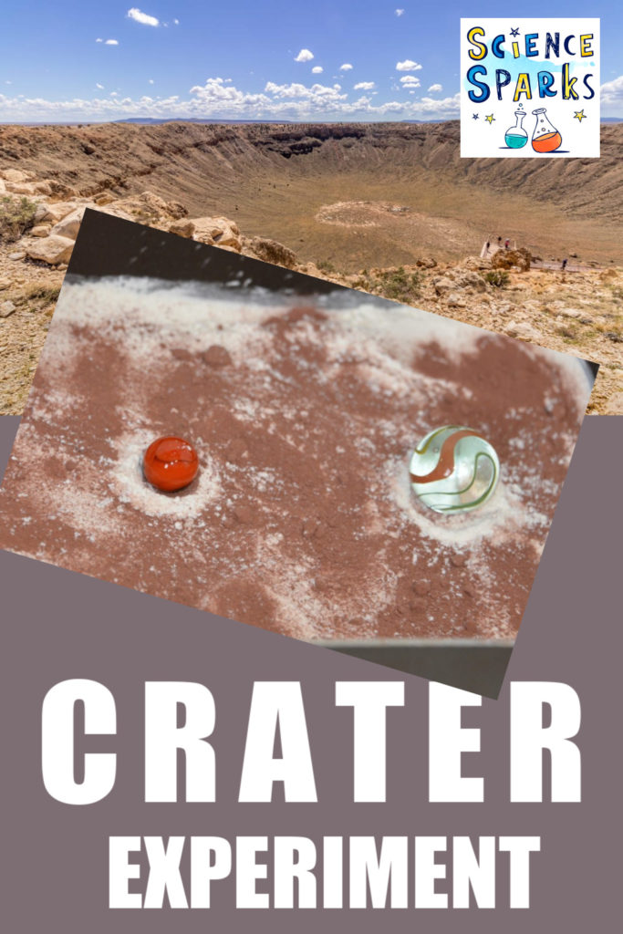 Easy crater experiment for kids. find out how craters form using flour, hot chocolate powder and marbles #craters #spacescience #gravityexperiments